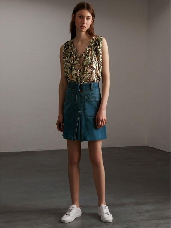 Sleeveless Beasts Print Lightweight Cotton Top in Chalk Green