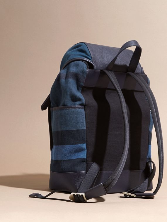 Ultramarine blue Leather and Overdyed Canvas Check Backpack - cell image 3