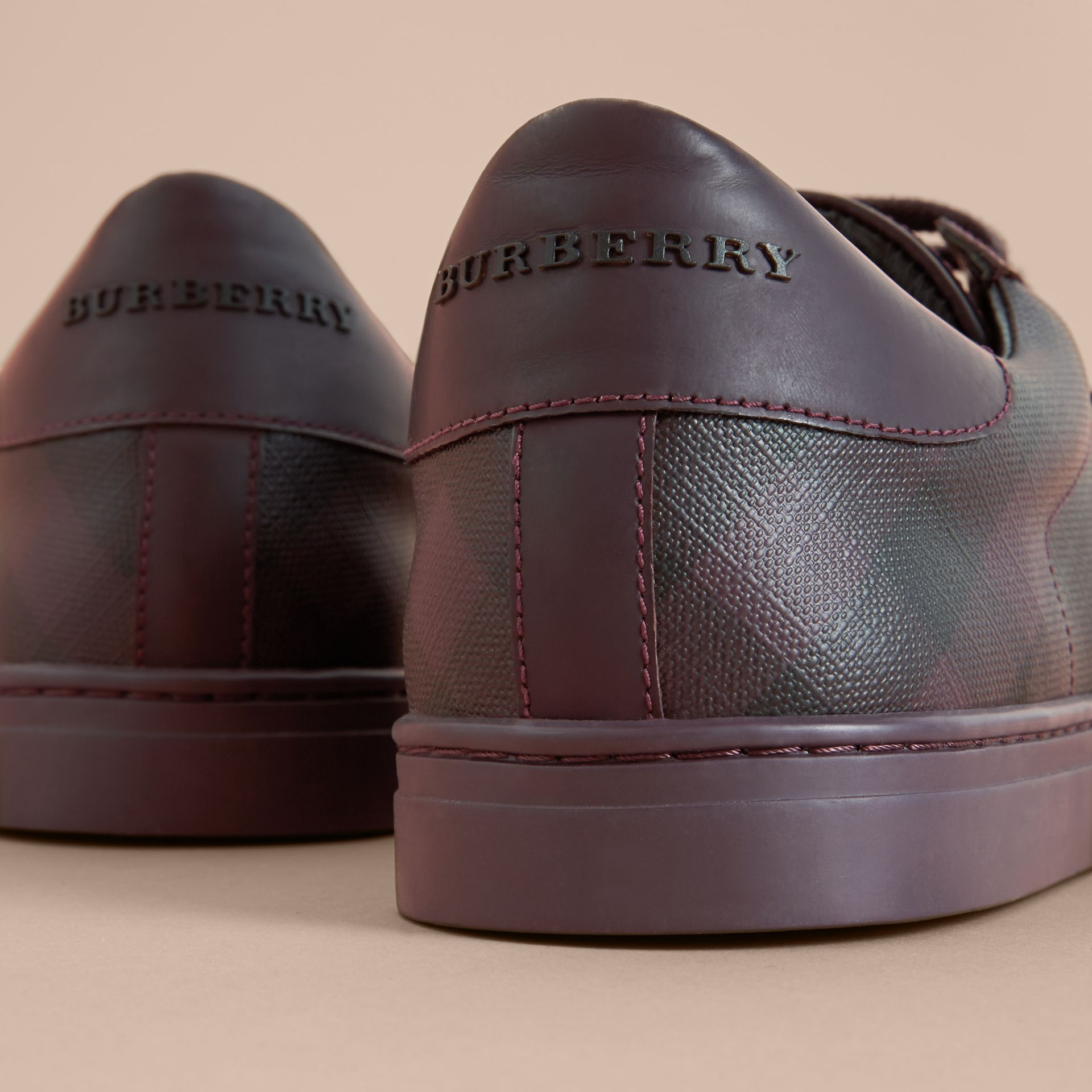 Check Detail Leather Trainers in Deep Claret - Men | Burberry - gallery image 2