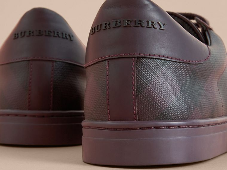 Check Detail Leather Trainers in Deep Claret - Men | Burberry - cell image 1