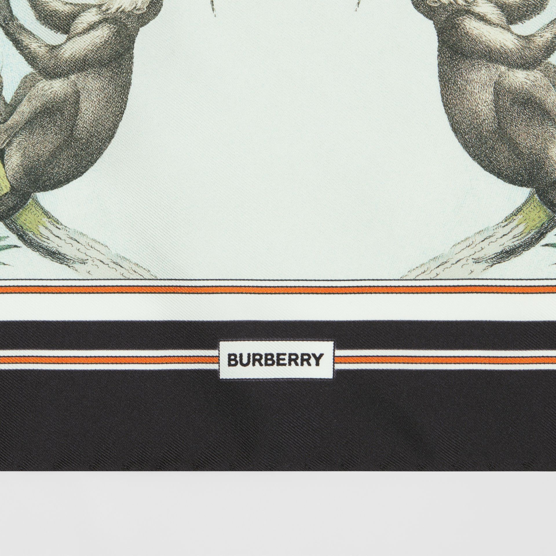 Monkey Print Silk Small Square Scarf in Light Opal Green | Burberry United Kingdom - gallery image 1