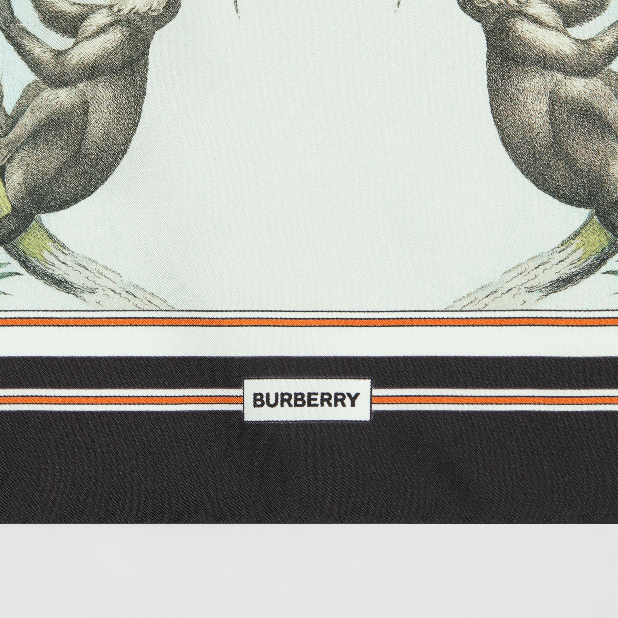 Monkey Print Silk Small Square Scarf in Light Opal Green | Burberry Australia - 2
