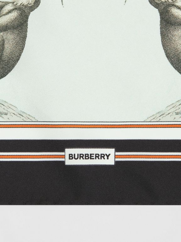 Monkey Print Silk Small Square Scarf in Light Opal Green | Burberry United Kingdom - cell image 1