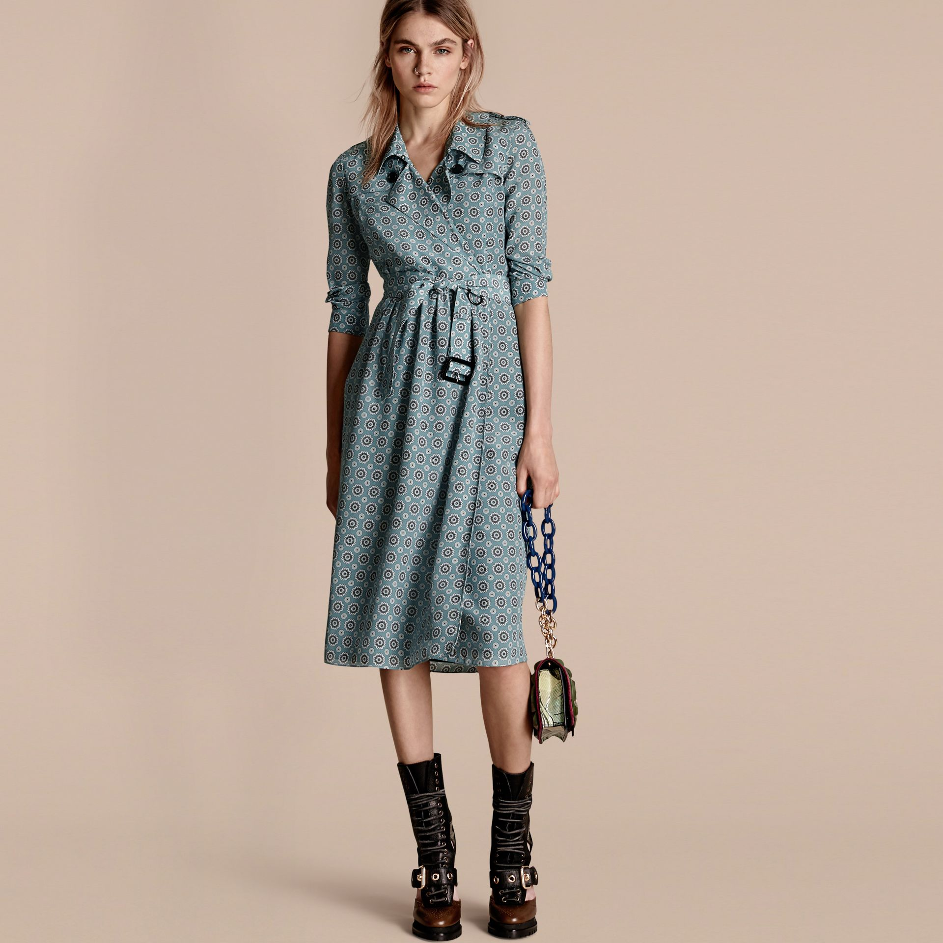 Pale stone blue Pyjama Print Silk Trench Dress - gallery image 1