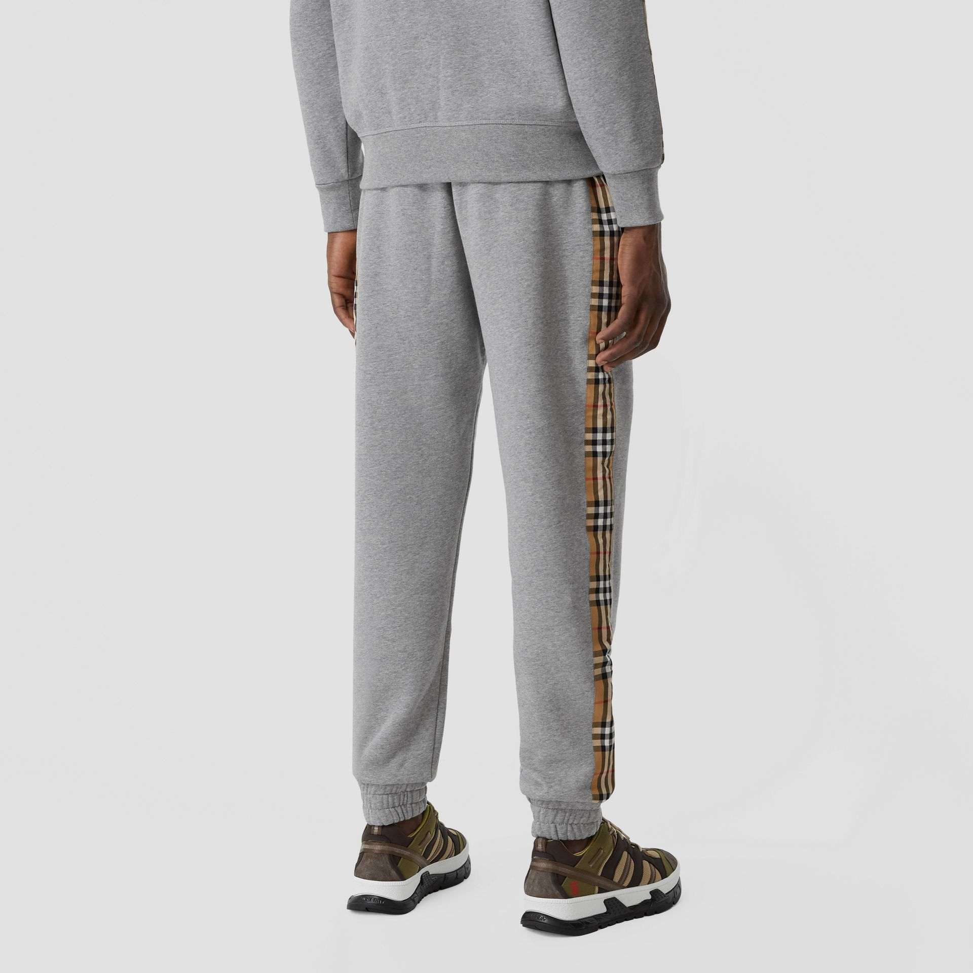 Vintage Check Panel Jersey Trackpants in Pale Grey Melange - Men | Burberry - gallery image 4