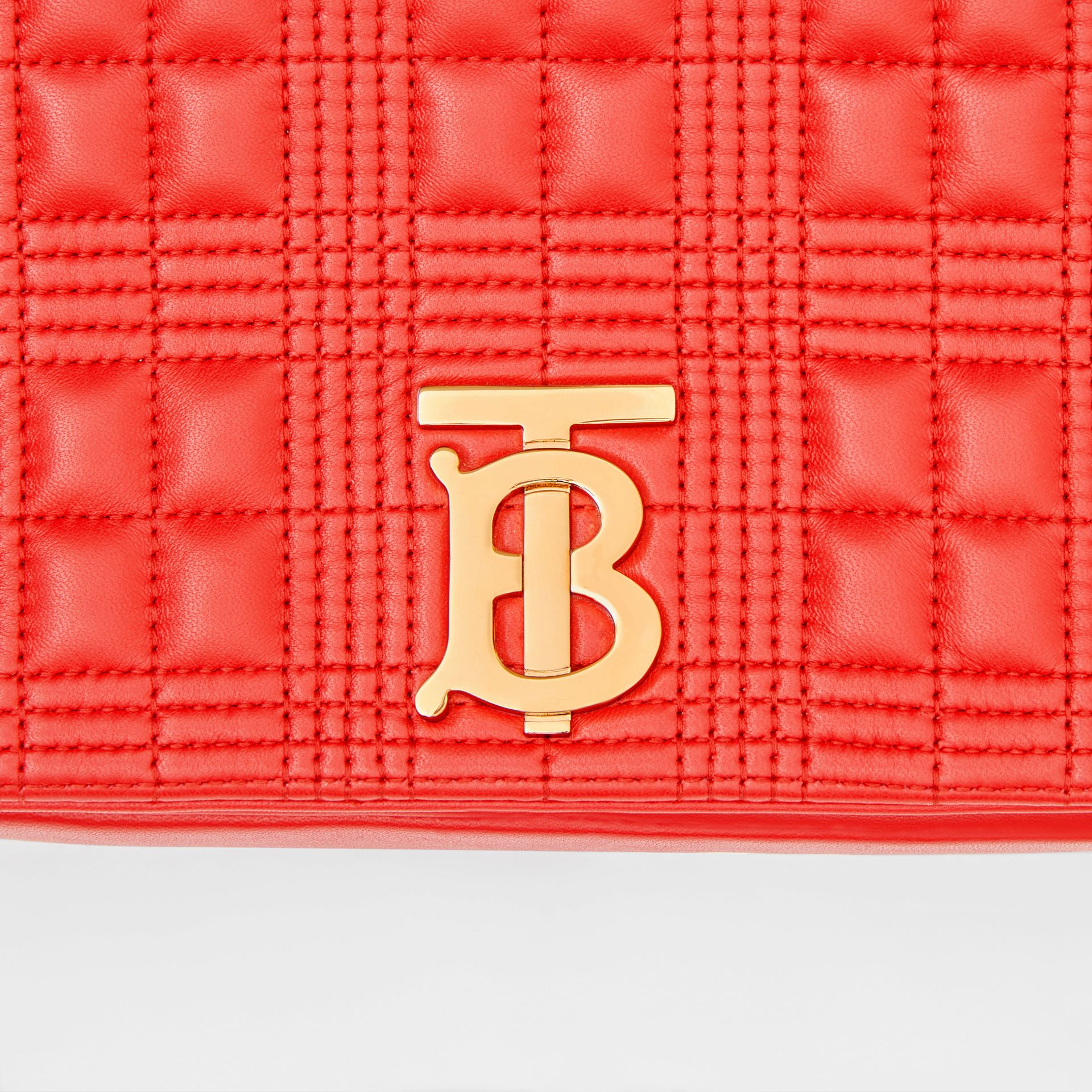 Small Quilted Check Lambskin Lola Bag in Bright Red - Women | Burberry - gallery image 9