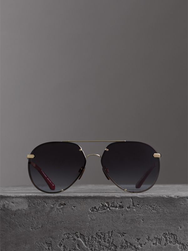 Check Detail Pilot Sunglasses in Grey - Women | Burberry - cell image 3