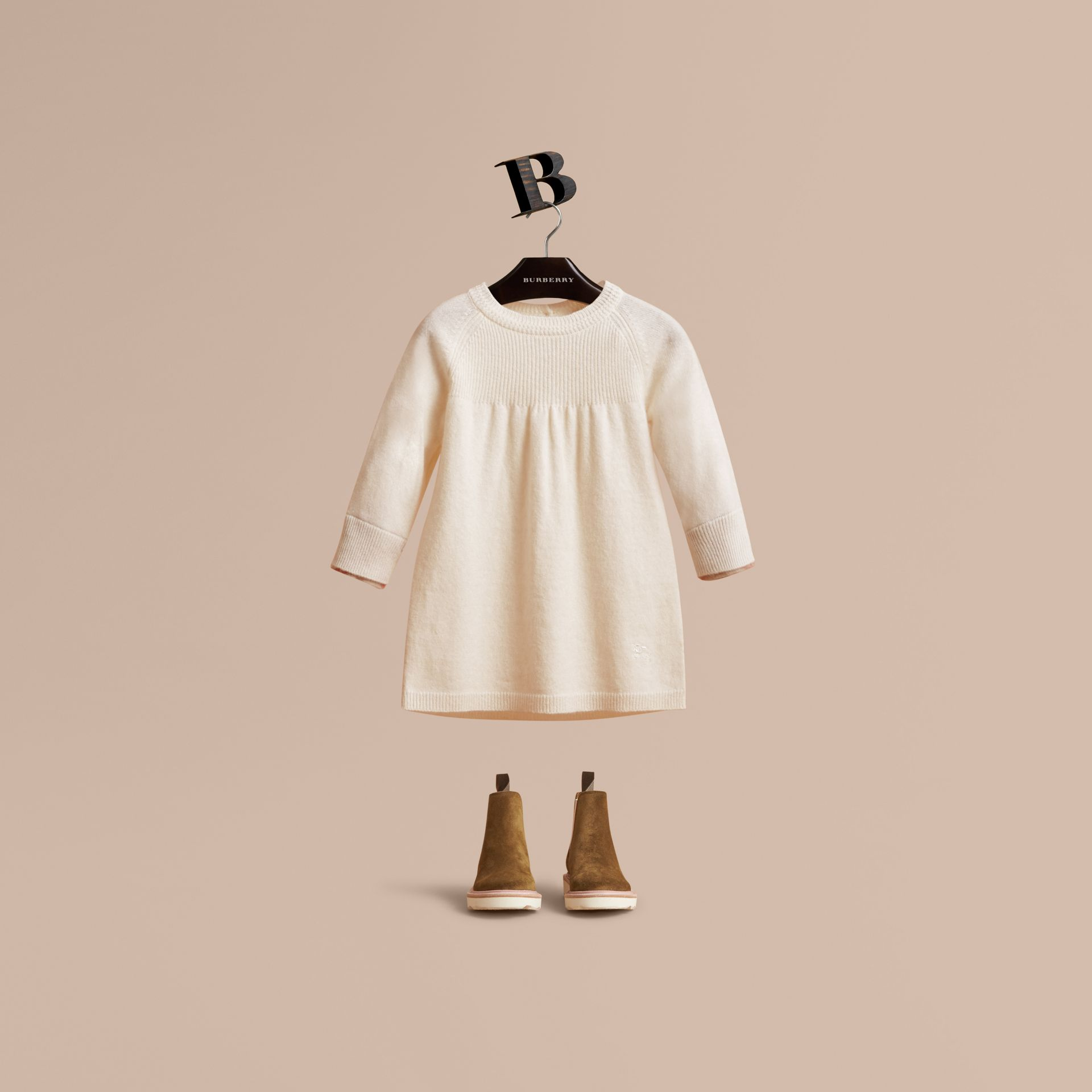 Check Cuff Knitted Cashmere Dress in Natural White | Burberry Singapore - gallery image 1