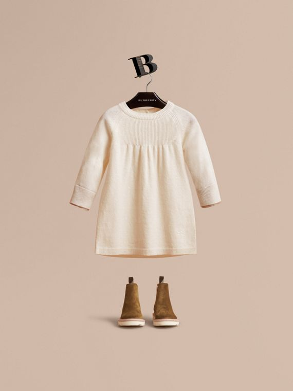 Check Cuff Knitted Cashmere Dress in Natural White