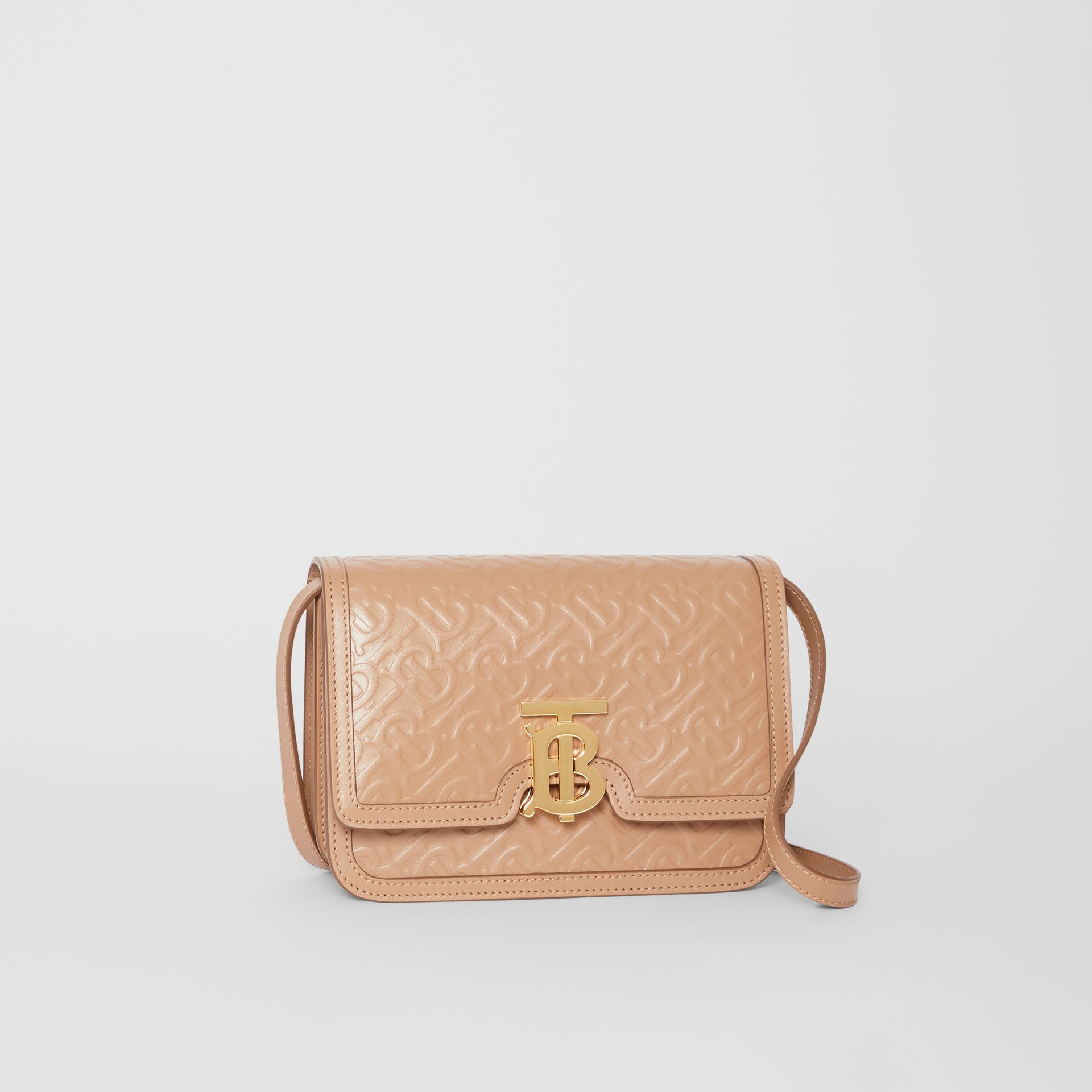 Small Monogram Leather TB Bag in Light Camel - Women | Burberry - gallery image 6