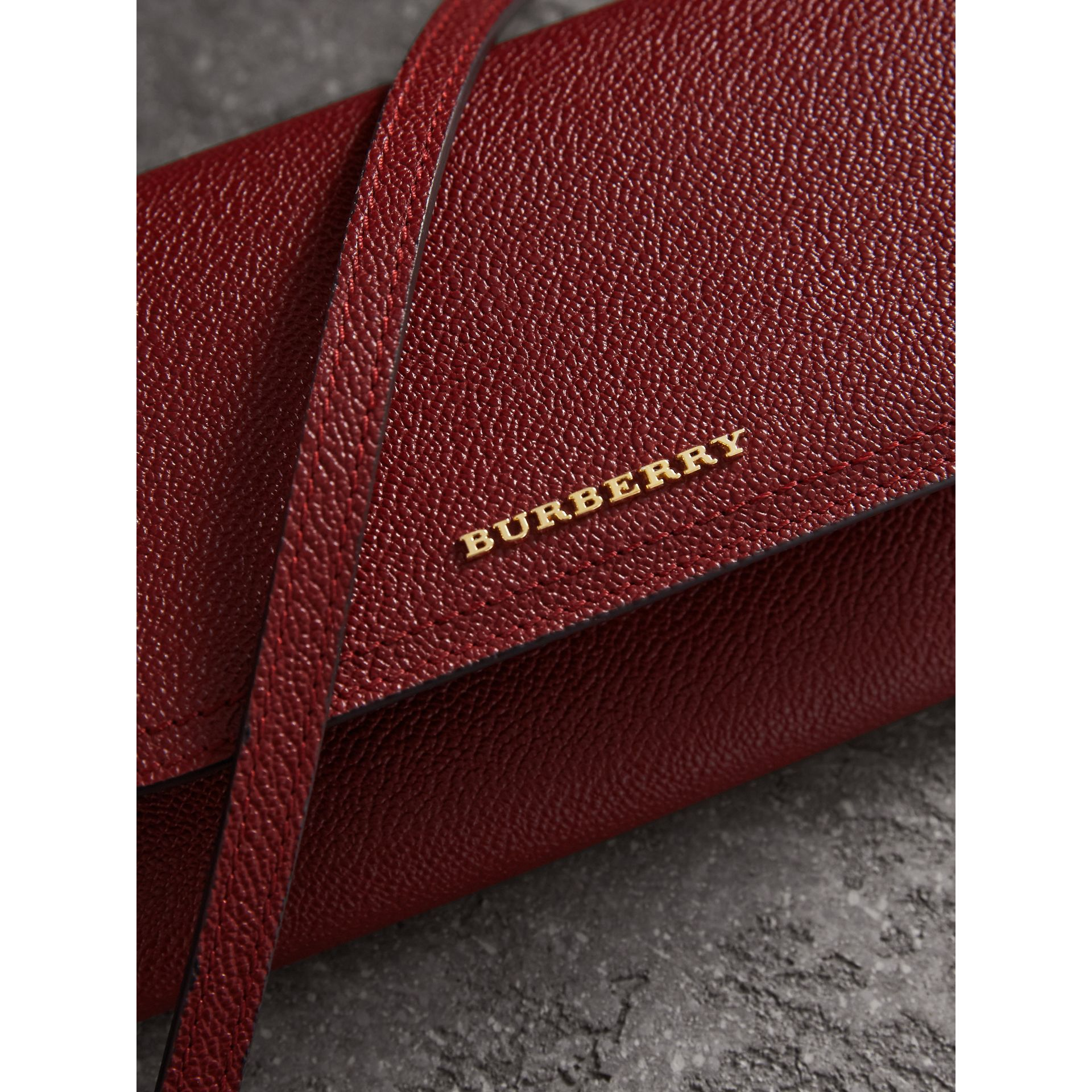 Leather Wallet with Chain in Burgundy - Women | Burberry - gallery image 1