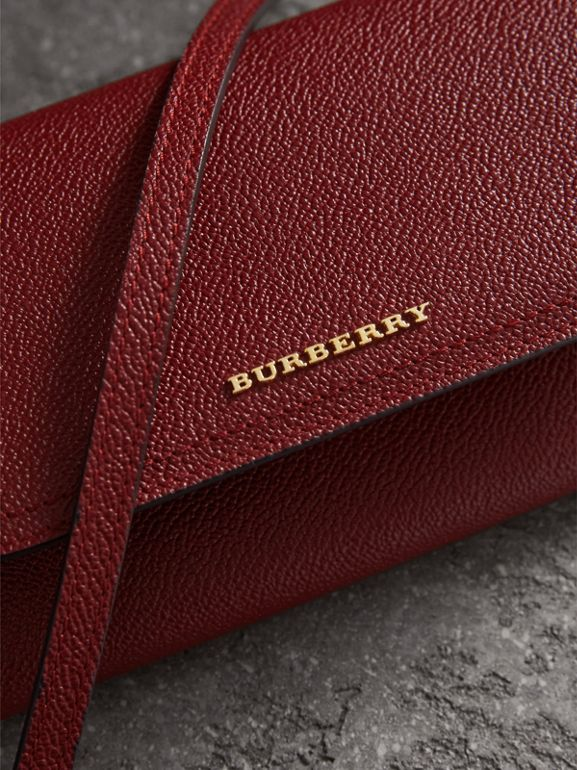 Leather Wallet with Chain in Burgundy - Women | Burberry - cell image 1