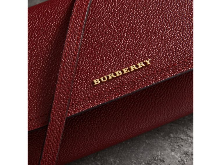 Leather Wallet with Chain in Burgundy - Women | Burberry Australia - cell image 1
