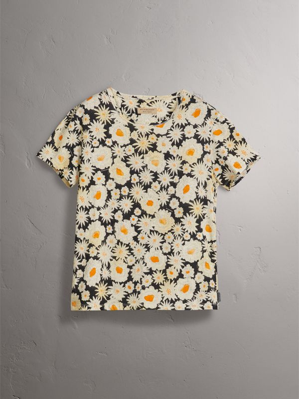 Daisy Print Cotton T-shirt in Black - Men | Burberry United States - cell image 3