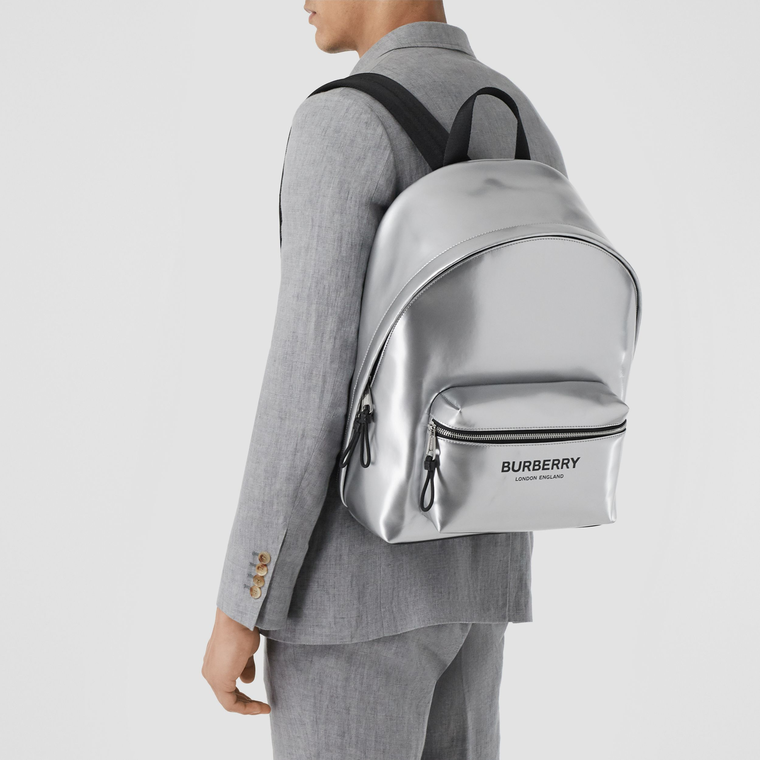 Metallic Coated Canvas Backpack in Silver | Burberry United Kingdom - 3