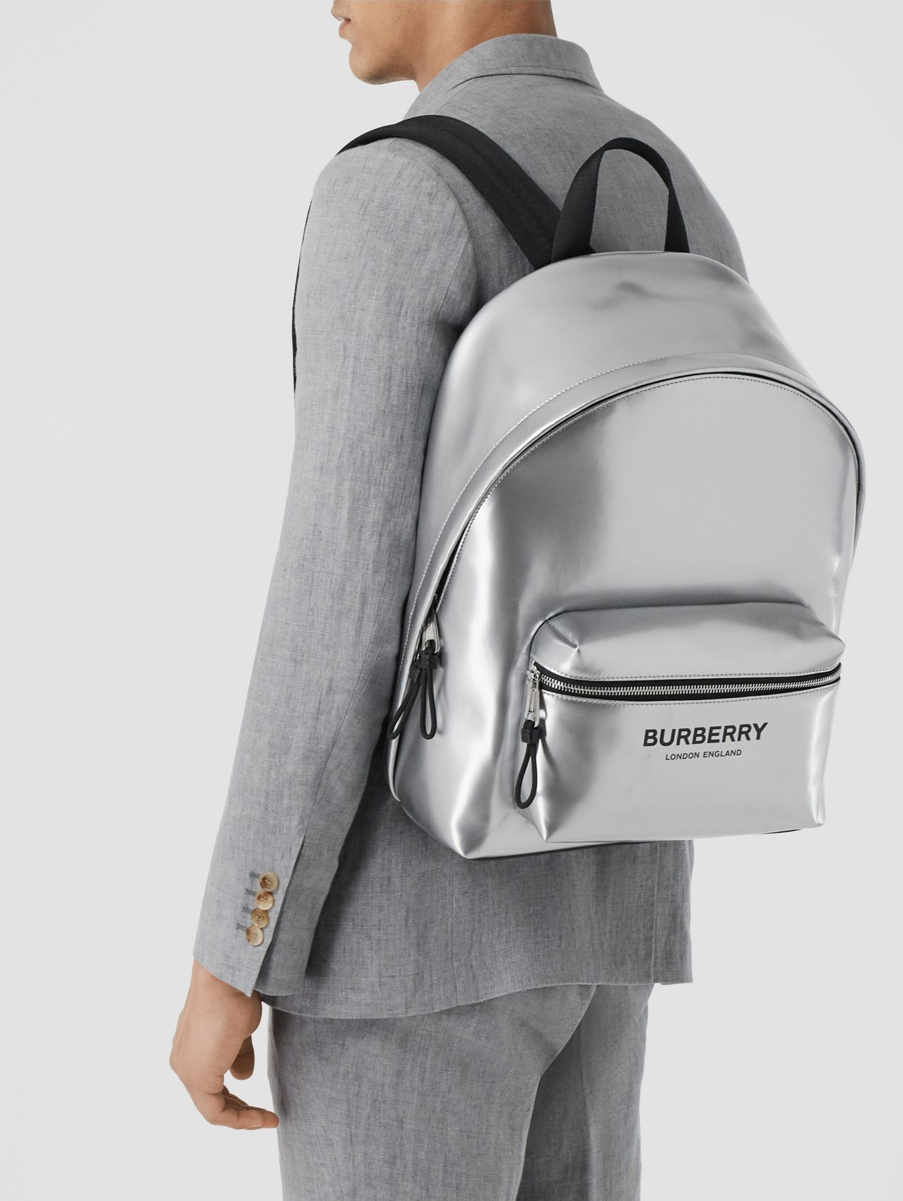 Metallic Coated Canvas Backpack in Silver