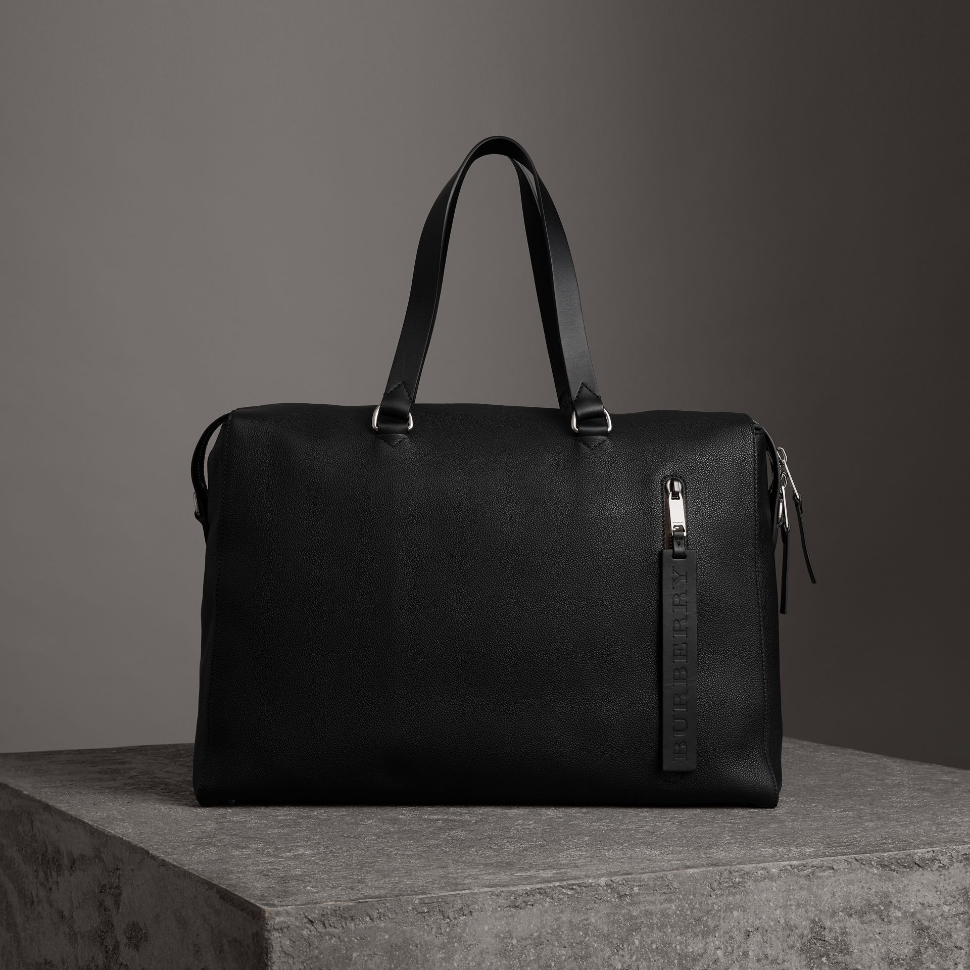 Embossed Grainy Leather Holdall in Black - Men | Burberry - gallery image 0