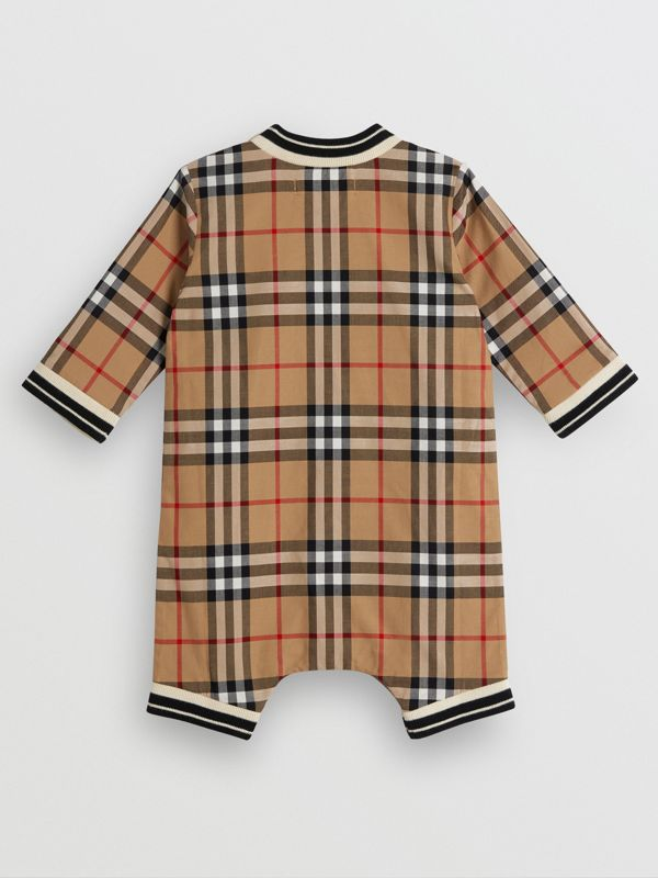 Vintage Check Cotton Poplin Jumpsuit in Antique Yellow - Children | Burberry - cell image 3