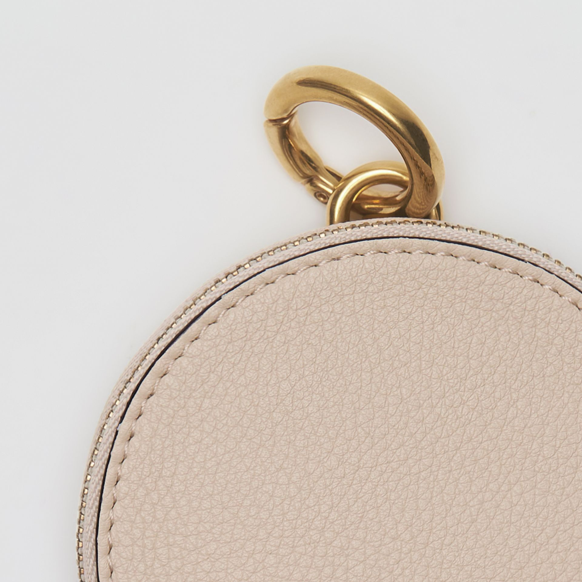 Small Round Leather Coin Case in Limestone/cornflower Yellow | Burberry - gallery image 1