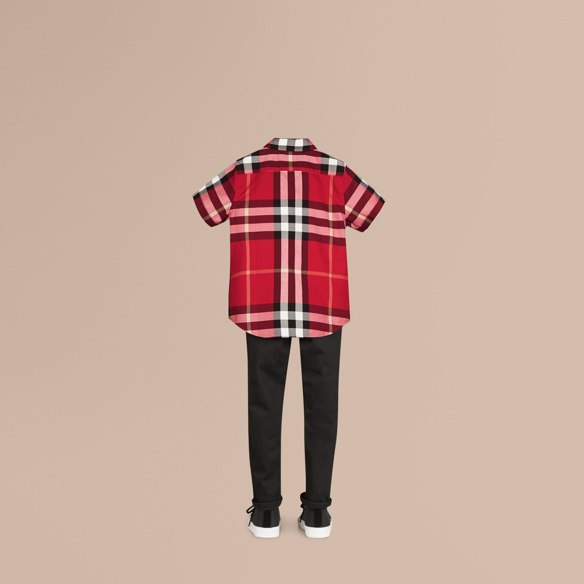 Parade red Short-sleeve Check Cotton Twill Shirt Parade Red - gallery image 3