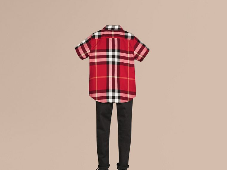 Short-sleeve Check Cotton Twill Shirt in Parade Red - cell image 2