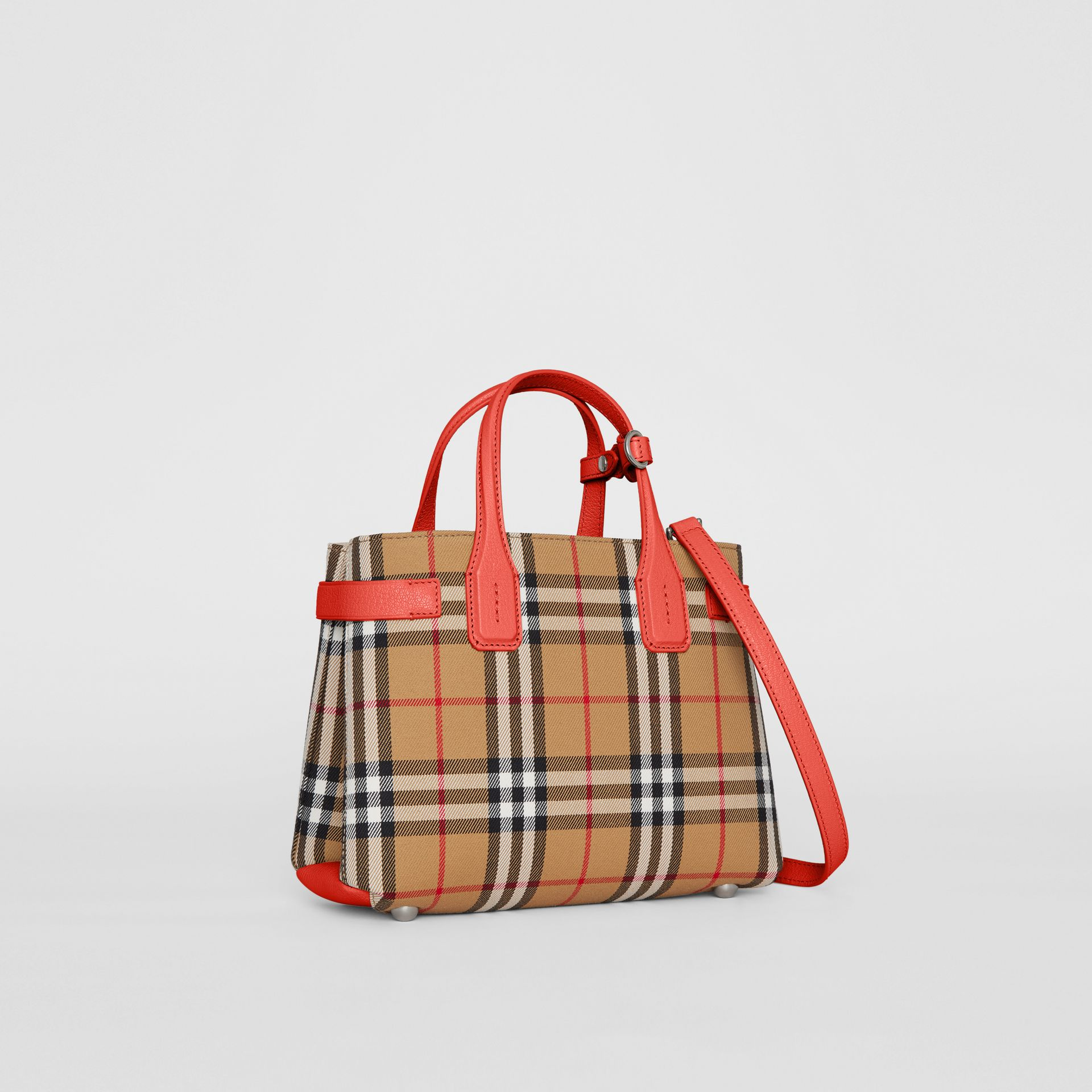 The Small Banner in Vintage Check and Leather in Bright Red - Women | Burberry Australia - gallery image 6