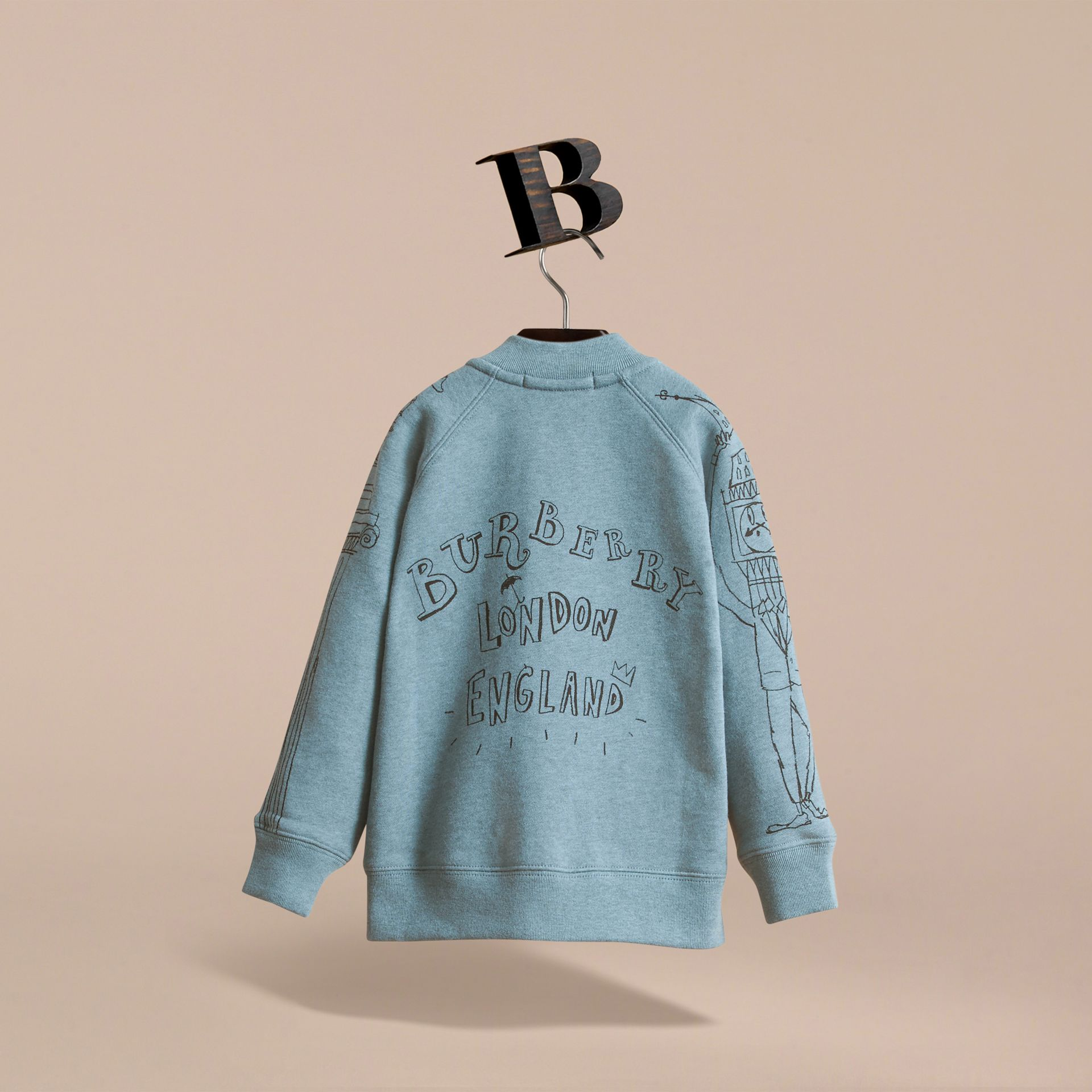 London Icons Print Cotton Zip-front Sweatshirt in Dusty Blue - Boy | Burberry Singapore - gallery image 4