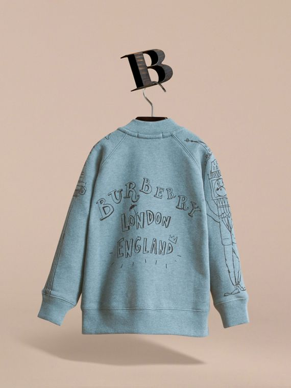 London Icons Print Cotton Zip-front Sweatshirt in Dusty Blue - Boy | Burberry - cell image 3