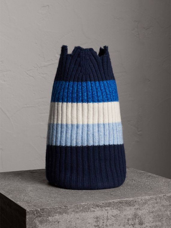 Striped Cashmere Open-top Beanie in Sky Blue