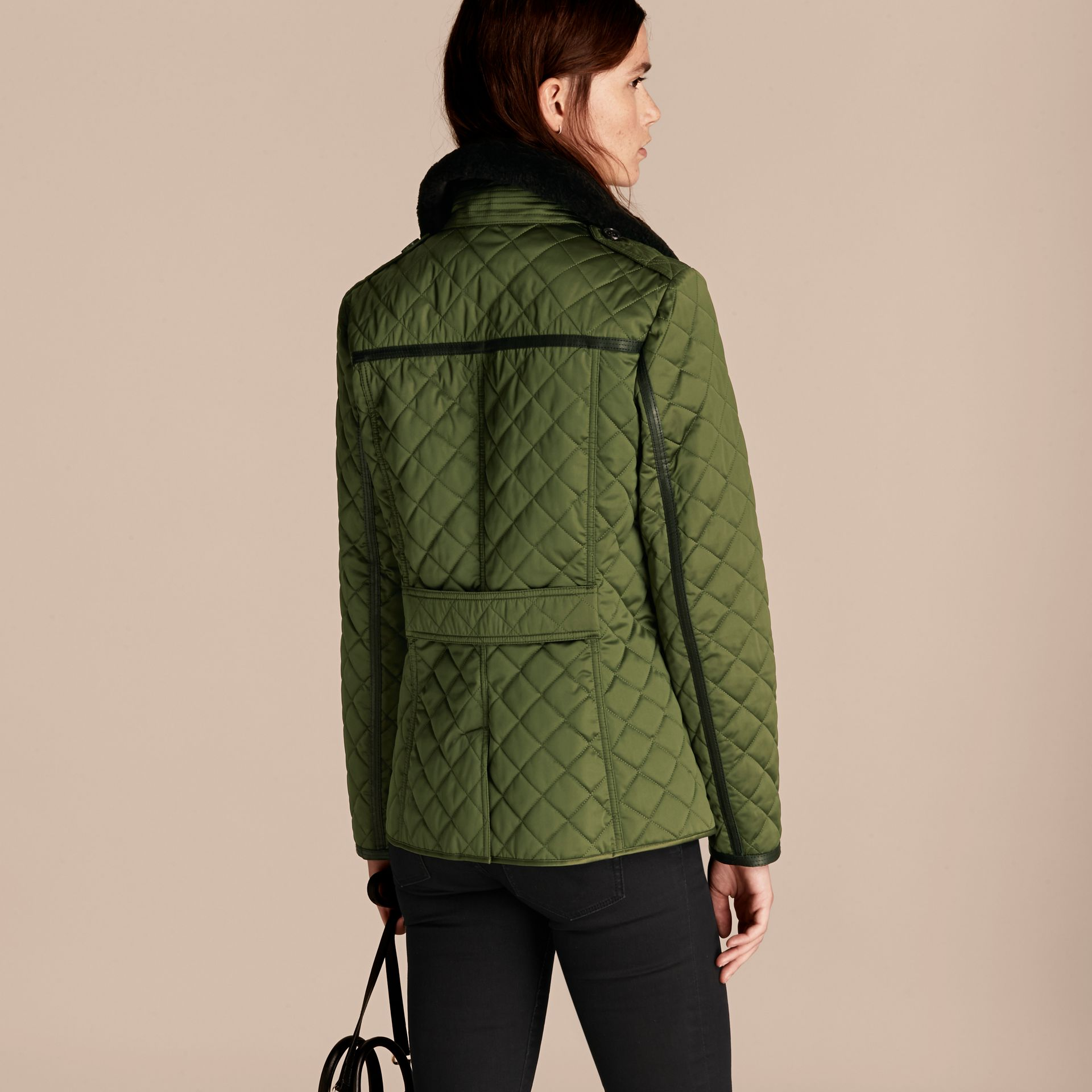 Bright moss green Quilted Jacket with Shearling Collar - gallery image 3