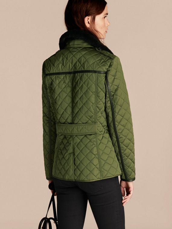 Bright moss green Quilted Jacket with Shearling Collar - cell image 2