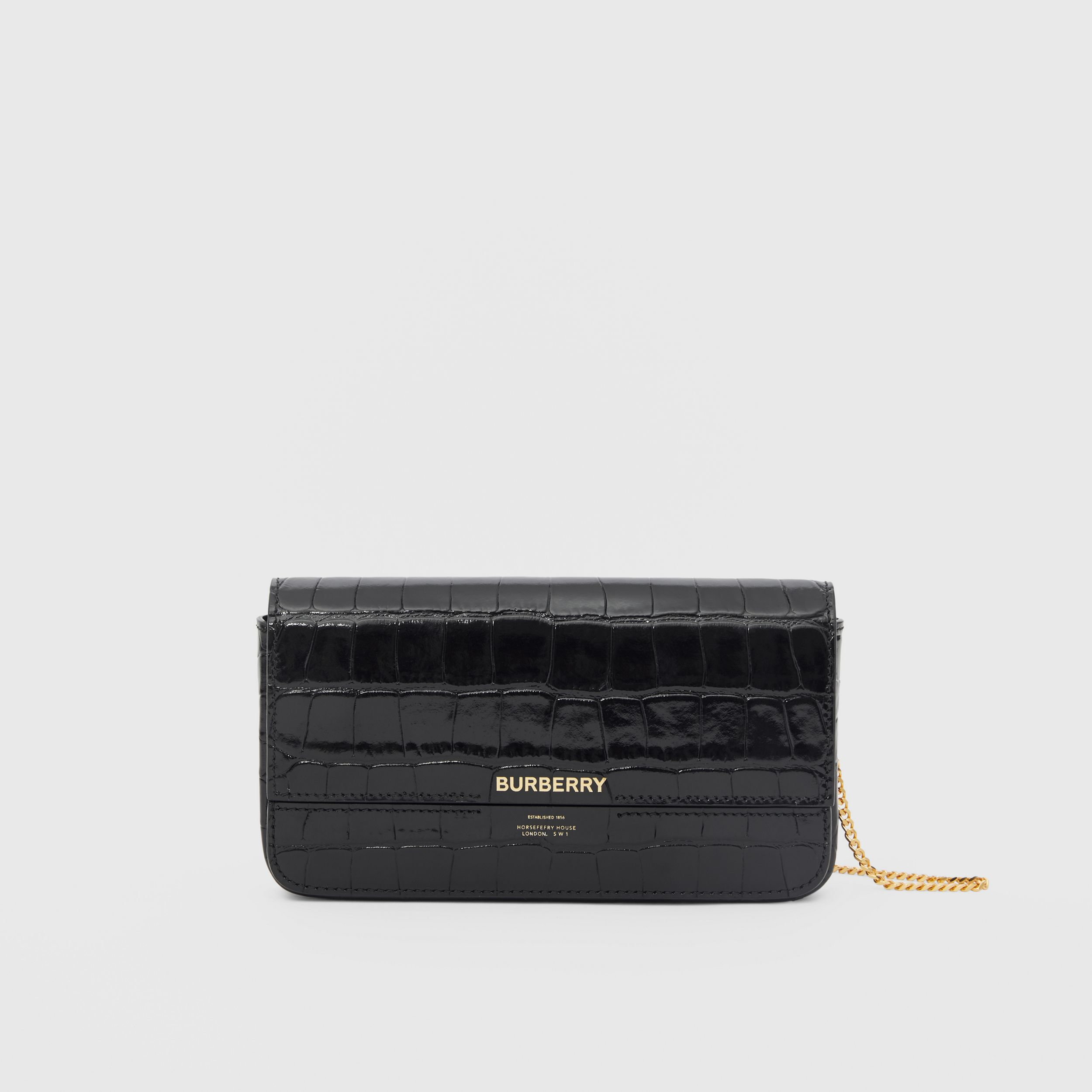 Embossed Leather Wallet with Detachable Chain Strap in Black - Women | Burberry - 1