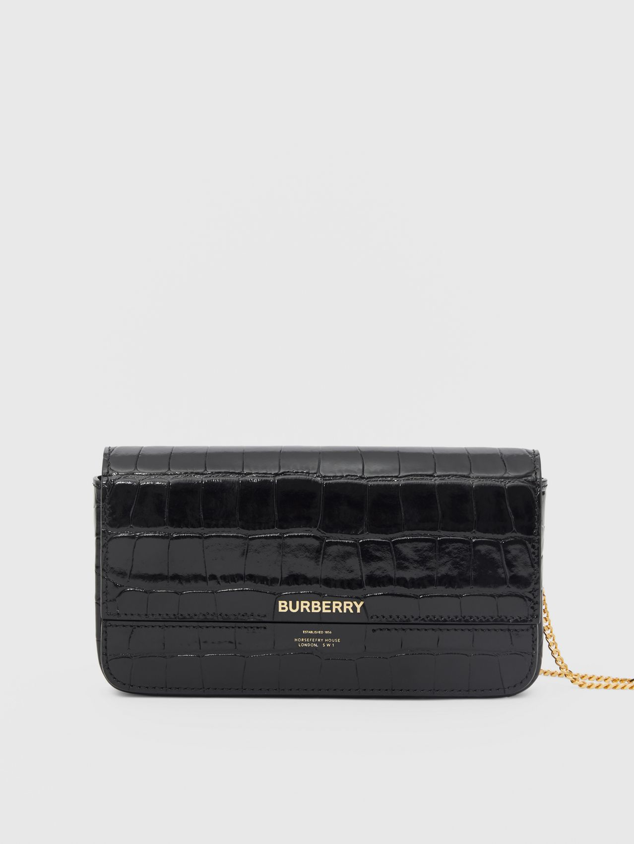 Embossed Leather Wallet with Detachable Chain Strap in Black