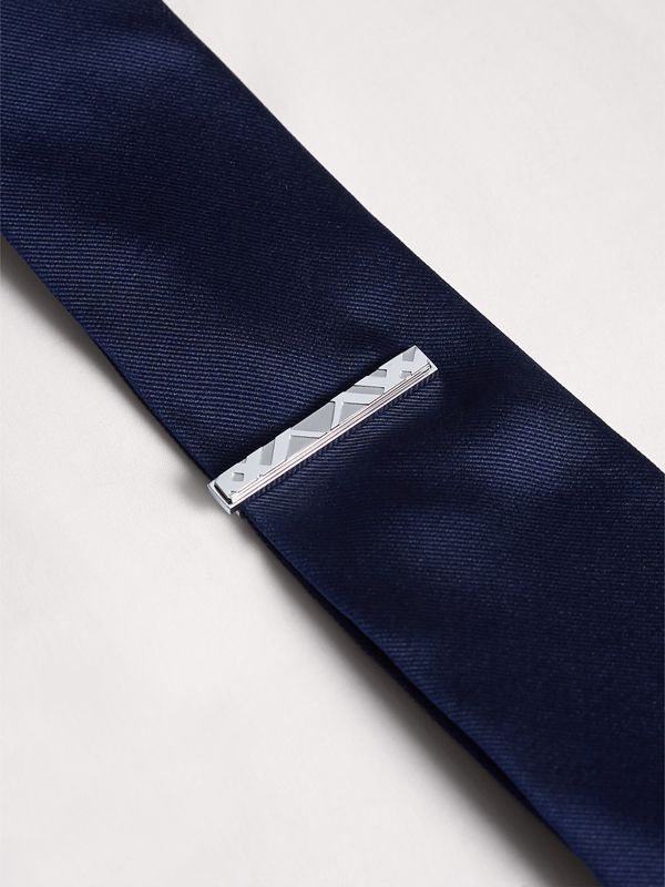 Check-engraved Tie Bar in Silver - Men | Burberry - cell image 2