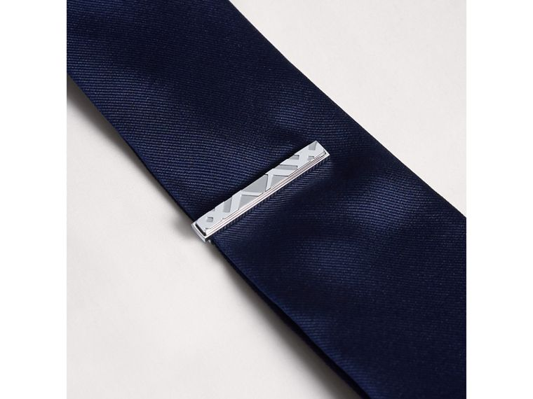 Check-engraved Tie Bar in Silver - Men | Burberry United Kingdom - cell image 2