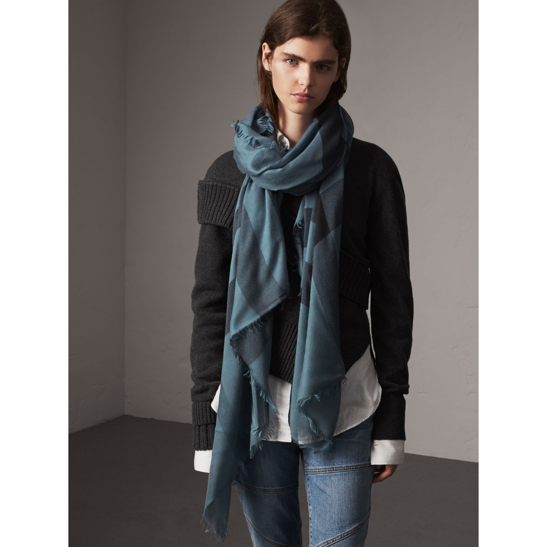 Check Modal Wool Scarf in Dusty Blue - Women | Burberry United Kingdom - gallery image 3