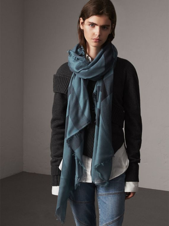 Check Modal Wool Scarf in Dusty Blue - Women | Burberry United Kingdom - cell image 2