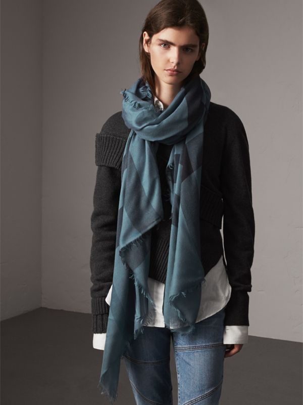 Check Modal Wool Scarf in Dusty Blue - Women | Burberry Australia - cell image 2