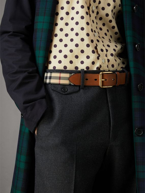 Horseferry Check and Leather Belt in Tan - Men | Burberry United Kingdom - cell image 2