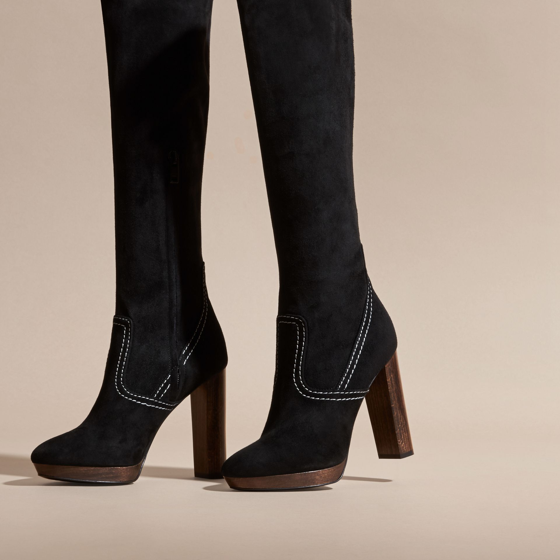 Black Topstitch Detail Knee-high Suede Platform Boots - gallery image 4