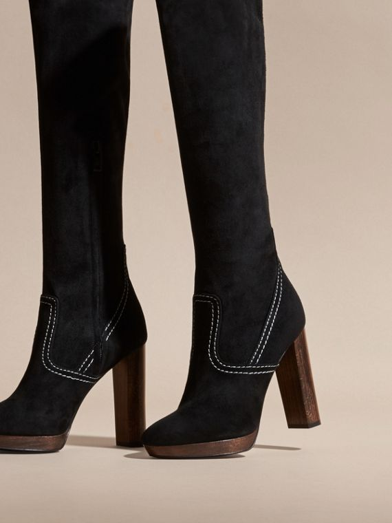 Black Topstitch Detail Knee-high Suede Platform Boots - cell image 3