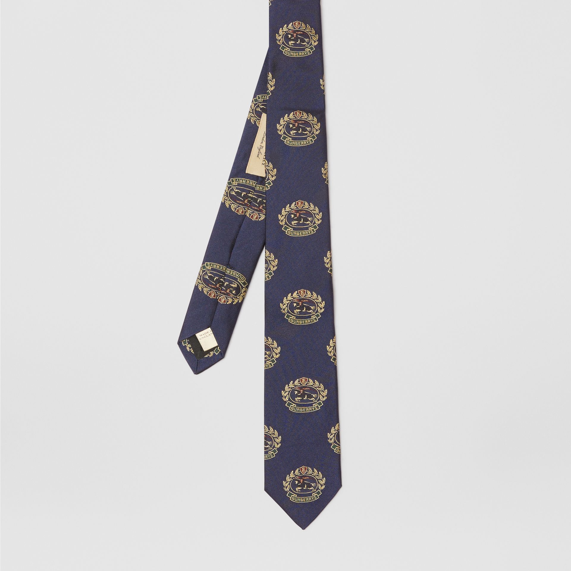 Slim Cut Archive Crest Silk Tie in Navy - Men | Burberry United Kingdom - gallery image 3