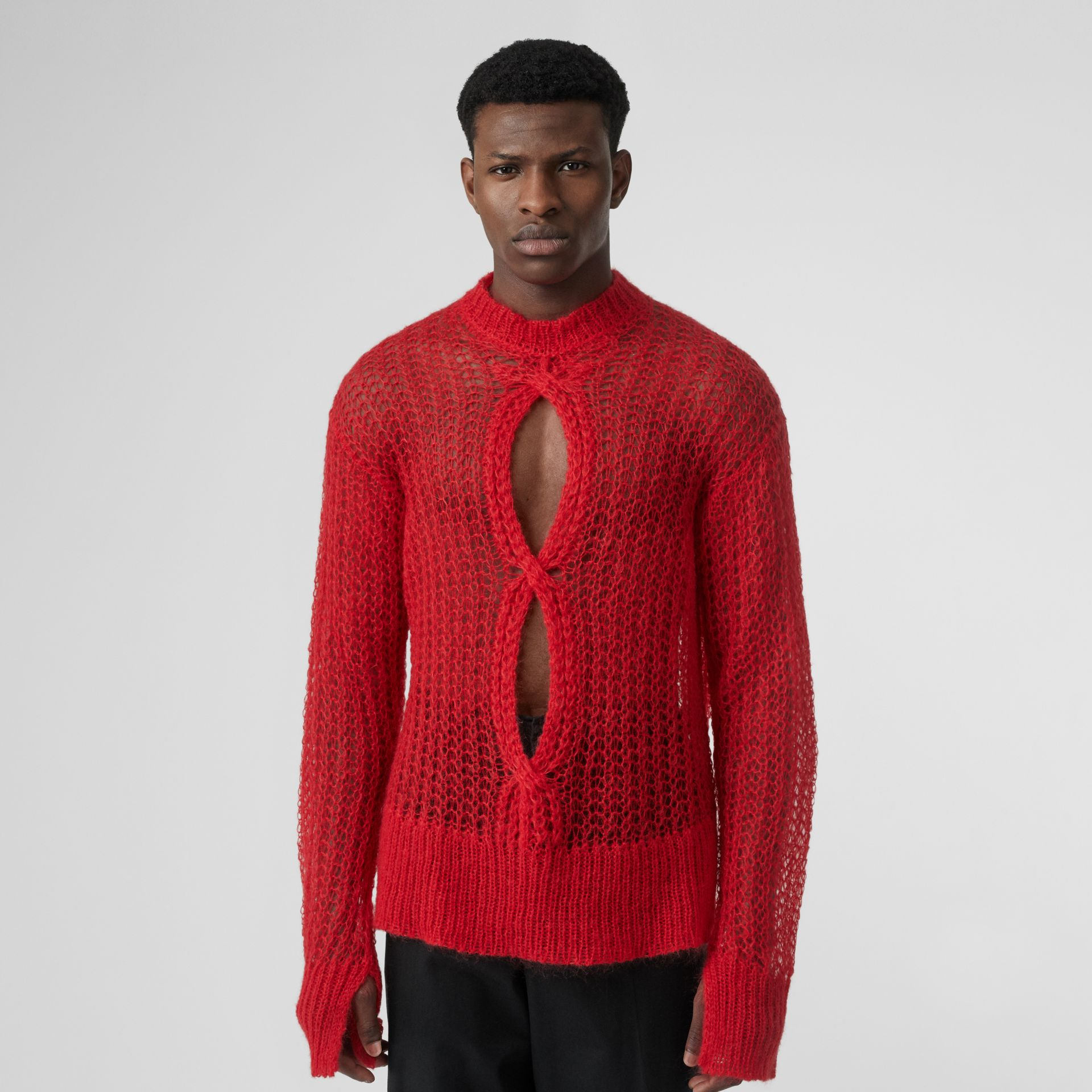 Open Knit Mohair Wool Blend Sweater in Bright Red | Burberry Singapore - gallery image 0