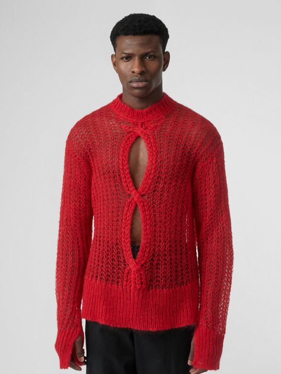 Open Knit Mohair Wool Blend Sweater in Bright Red
