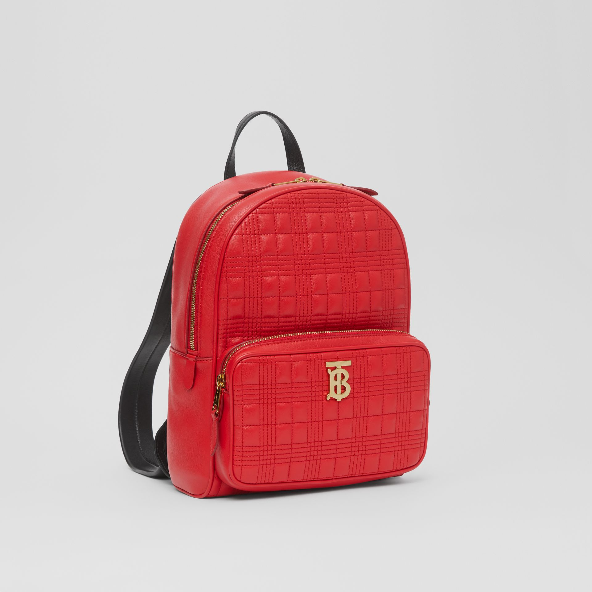 Quilted Lambskin Backpack in Bright Red | Burberry - gallery image 8