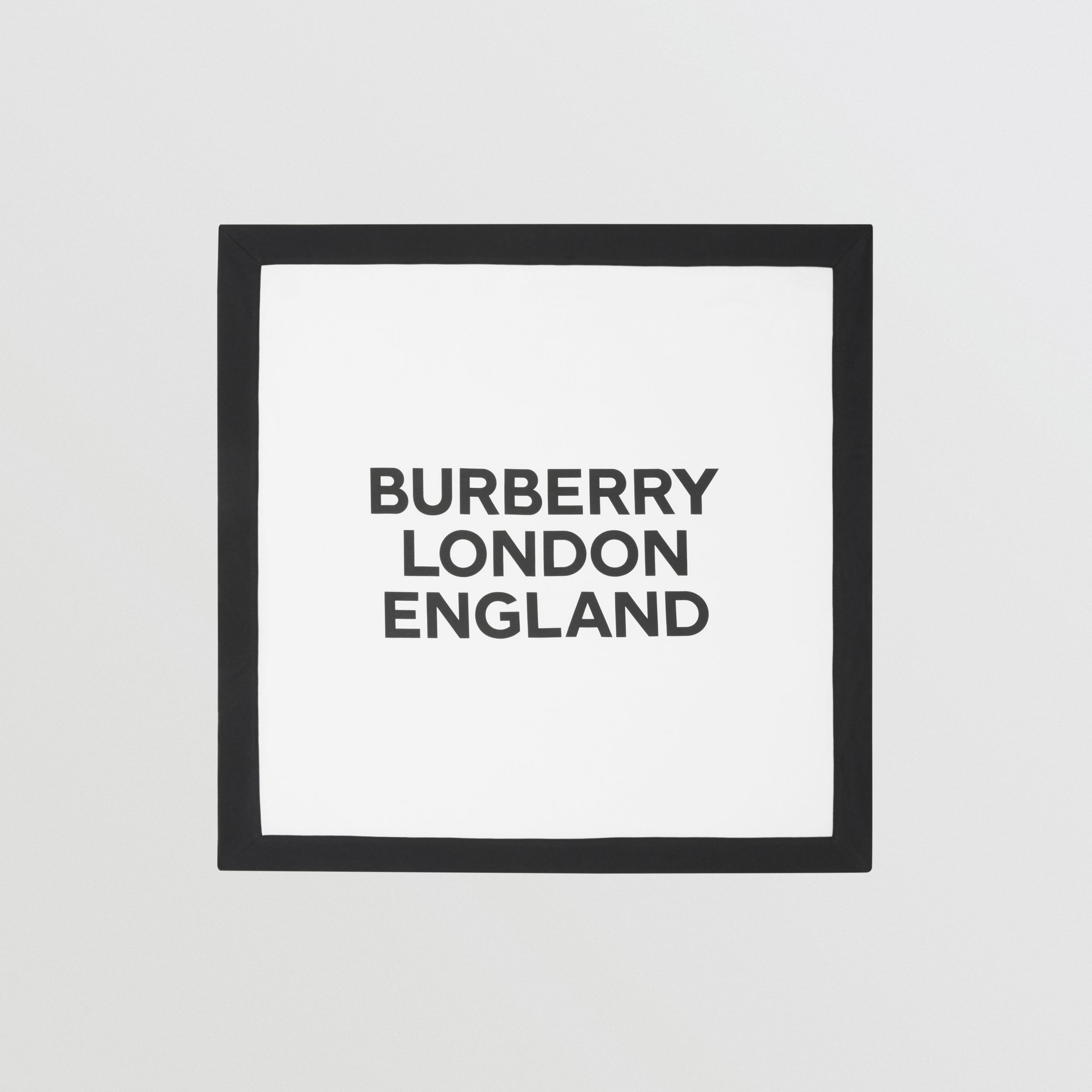 Logo Print Cotton Baby Blanket in White - Children | Burberry - 1