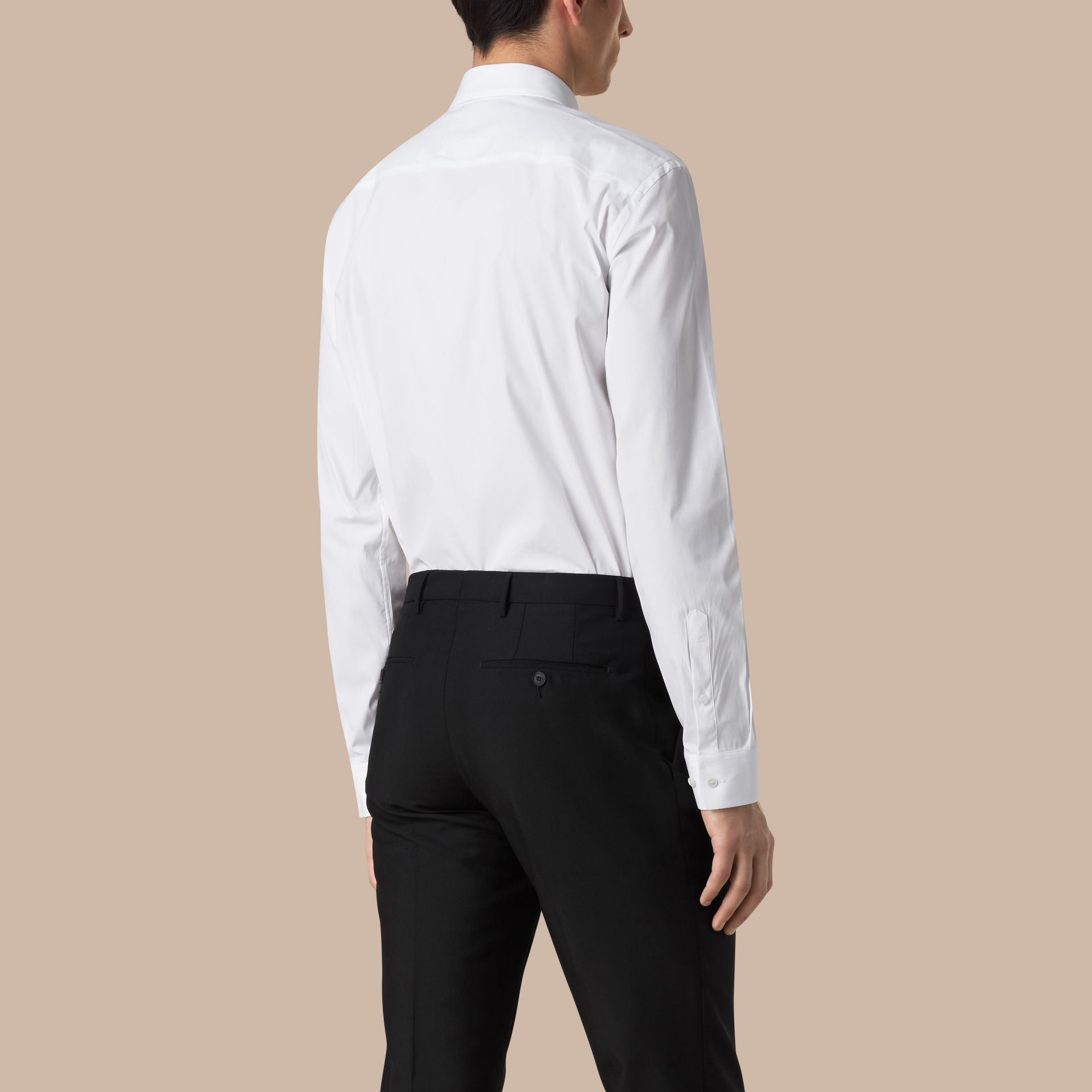 White Modern Fit Stretch Cotton Shirt White - gallery image 3