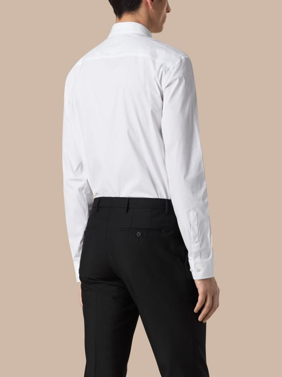 White Modern Fit Stretch Cotton Shirt White - cell image 2