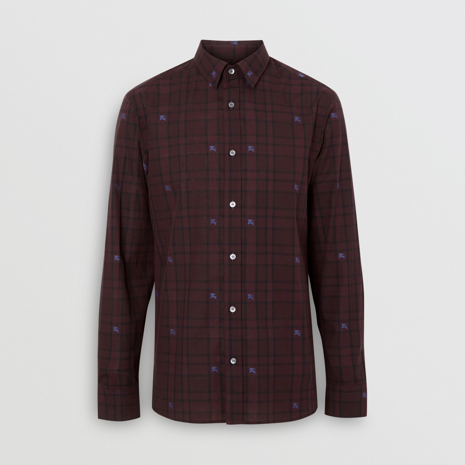 Equestrian Knight Check Cotton Shirt in Dark Elderberry - Men | Burberry United States - gallery image 3