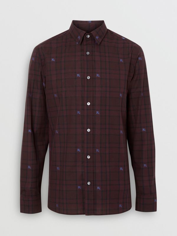 Equestrian Knight Check Cotton Shirt in Dark Elderberry - Men | Burberry - cell image 3